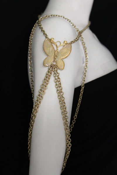 New Women Shoulder Chain Gold Metal Big Butterfly Necklace Body Jewelry Harness - alwaystyle4you - 3