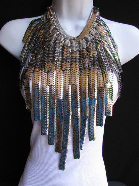 "Dressy Casual Wide Multi Strand Gold / Silver Links Chains Wide Metal New Women Necklace 20"" - alwaystyle4you - 15"