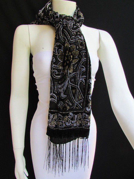 Women Scarf Black Multi Colors Big Flowers Faux Velvet European Stylish Shades - alwaystyle4you - 1
