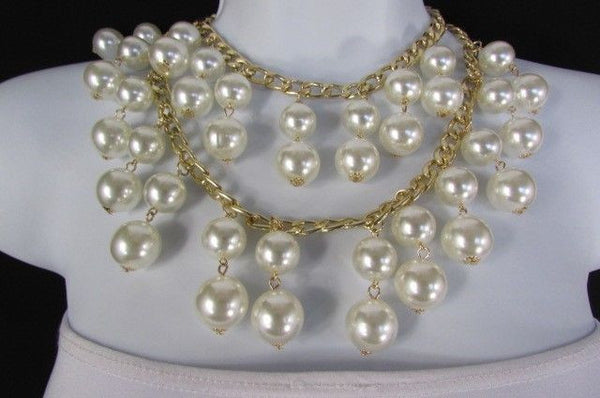 Gold Metal Long Double Chains 2 Strands Big Pearl Beads New Women - alwaystyle4you - 11