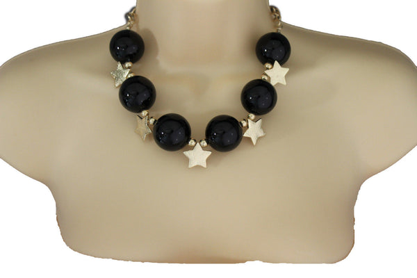 Black / Silver / Gold / Red / White Metal Stars Ball Beads Short Ivory Necklace + Earring Set New Women Fashion Jewelry - alwaystyle4you - 17
