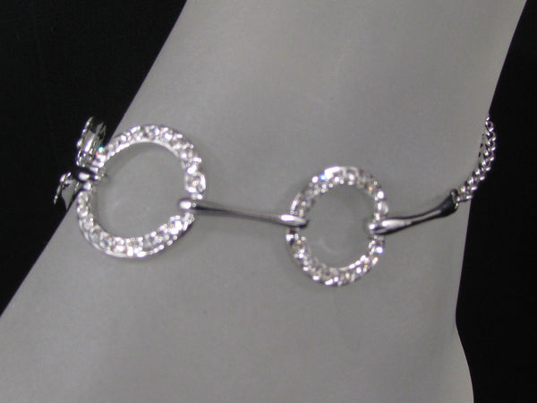 Silver Metal Thin Chains Anklet Foot Round Circle Rhinestones Beach Pool Party Accessories