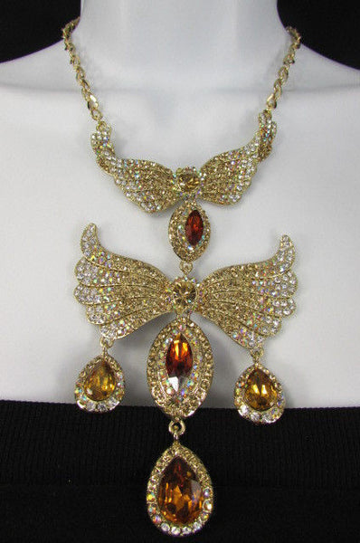 Metal Flying Wings Gold Silver Rhinestones Necklace + Earrings set New Women Fashion - alwaystyle4you - 6