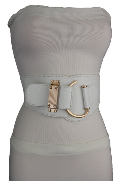 Blue Navy Blue Red White Pink Green Turquize Black Brown Dark Brown Beige Gold Faux Leather Hip Waist Elastic Belt Big Gold Hook Buckle New Women Fashion Accessories Plus Size - alwaystyle4you - 39