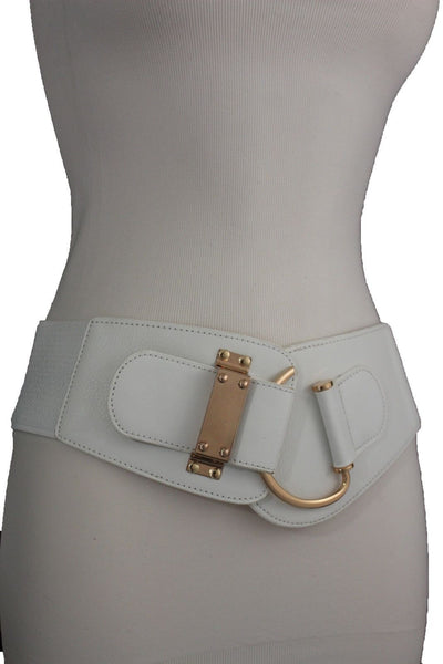 Blue Navy Blue Red White Pink Green Turquize Black Brown Dark Brown Beige Gold Faux Leather Hip Waist Elastic Belt Big Gold Hook Buckle New Women Fashion Accessories Plus Size - alwaystyle4you - 38
