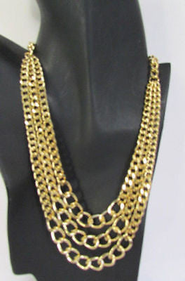 Gold Short Metal Chunky Thick 3 Chains Necklace + Earrings Set New Women Fashion Jewelry - alwaystyle4you - 6
