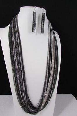 Silver Black / Antique Gold Thin Multi Chains Long Necklace + Earrings Set New Women Fashion - alwaystyle4you - 10
