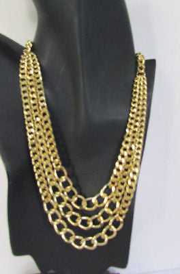 Gold Short Metal Chunky Thick 3 Chains Necklace + Earrings Set New Women Fashion Jewelry - alwaystyle4you - 11