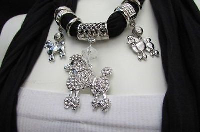 Blue, Black, L. Pink, Pink Fuscia Soft Fabric Scarf Silver Metal Poodle Dog Pendant New Women Fashion - alwaystyle4you - 4
