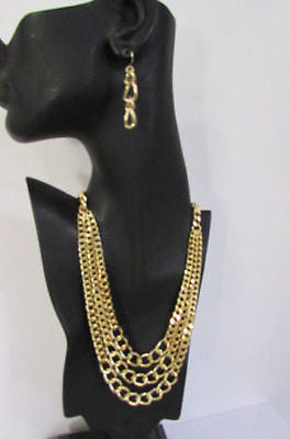 Gold Short Metal Chunky Thick 3 Chains Necklace + Earrings Set New Women Fashion Jewelry - alwaystyle4you - 1