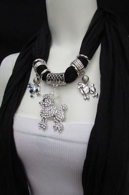 Blue, Black, L. Pink, Pink Fuscia Soft Fabric Scarf Silver Metal Poodle Dog Pendant New Women Fashion - alwaystyle4you - 1