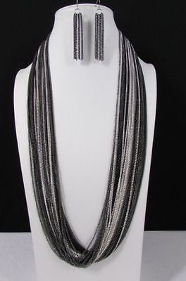 Silver Black / Antique Gold Thin Multi Chains Long Necklace + Earrings Set New Women Fashion - alwaystyle4you - 8