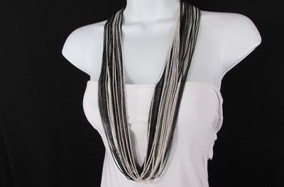 Silver Black / Antique Gold Thin Multi Chains Long Necklace + Earrings Set New Women Fashion - alwaystyle4you - 14