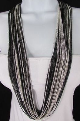 Silver Black / Antique Gold Thin Multi Chains Long Necklace + Earrings Set New Women Fashion - alwaystyle4you - 7