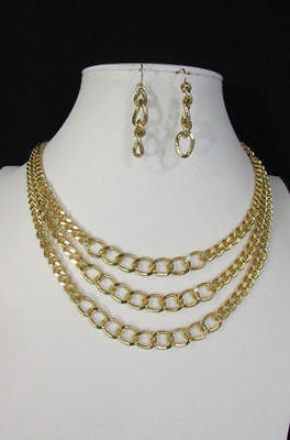 Gold Short Metal Chunky Thick 3 Chains Necklace + Earrings Set New Women Fashion Jewelry - alwaystyle4you - 3