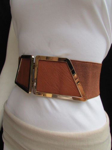 Blue / Dark Brown / Moca Brown Wide Elastic Waist Hip Stretch Back Belt Gold 80's Buckle New Women Fashion Accessories XS - M - alwaystyle4you - 13