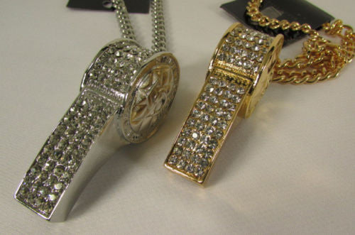 Silver Metal Chains Large Whistle Rhinestones Pendant Necklace New Men Women Accessories
