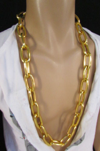 "Chunky Metal Thick Chains 35"" Long Necklace Silver Gold Hip Hop New Men Biker Fashion - alwaystyle4you - 13"