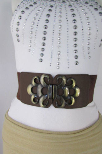 Brown / Black / Gray Faux Leather Elastic Stretch Back Belt Antique Gold Buckle New Women Fashion Accessories S M - alwaystyle4you - 11