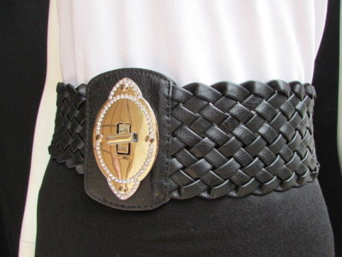 Black / Brown / Pink / Gray Wide Faux Leather Elastic Waist Hip Braided Wide Belt Silver Buckle New Women Fashion Accessories M  L - alwaystyle4you - 15