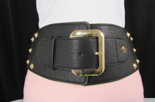 Dark Gray / Black Stretch Elastic Back Faux Leather Wide High Waist Hip Belt Gold Buckle Studs New Women Fashion Accessories S M - alwaystyle4you - 2