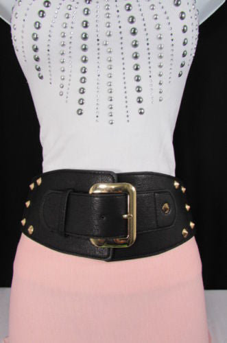 Dark Gray / Black Stretch Elastic Back Faux Leather Wide High Waist Hip Belt Gold Buckle Studs New Women Fashion Accessories S M - alwaystyle4you - 10