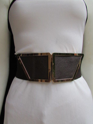 Blue / Dark Brown / Moca Brown Wide Elastic Waist Hip Stretch Back Belt Gold 80's Buckle New Women Fashion Accessories XS - M - alwaystyle4you - 15