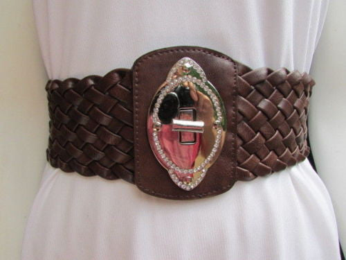 Black / Brown / Pink / Gray Wide Faux Leather Elastic Waist Hip Braided Wide Belt Silver Buckle New Women Fashion Accessories M  L - alwaystyle4you - 16