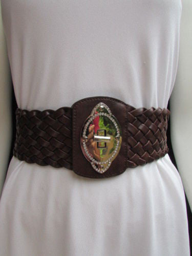 Black / Brown / Pink / Gray Wide Faux Leather Elastic Waist Hip Braided Wide Belt Silver Buckle New Women Fashion Accessories M  L - alwaystyle4you - 17