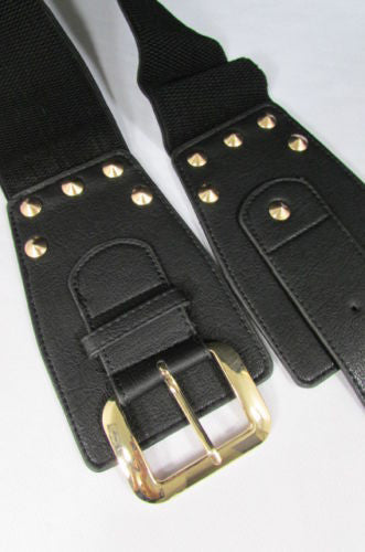 Dark Gray / Black Stretch Elastic Back Faux Leather Wide High Waist Hip Belt Gold Buckle Studs New Women Fashion Accessories S M - alwaystyle4you - 11
