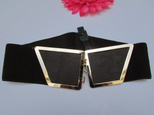Blue / Dark Brown / Moca Brown Wide Elastic Waist Hip Stretch Back Belt Gold 80's Buckle New Women Fashion Accessories XS - M - alwaystyle4you - 16