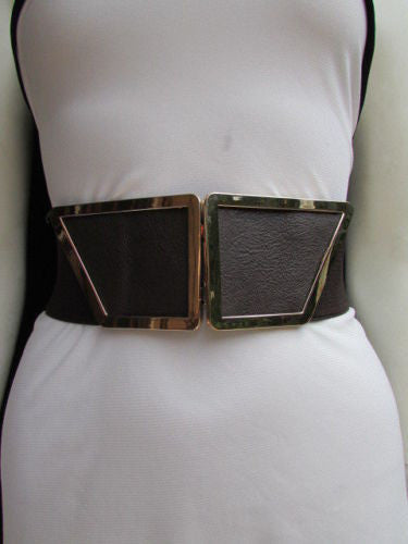 Blue / Dark Brown / Moca Brown Wide Elastic Waist Hip Stretch Back Belt Gold 80's Buckle New Women Fashion Accessories XS - M - alwaystyle4you - 17