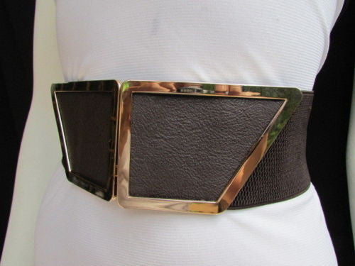 Blue / Dark Brown / Moca Brown Wide Elastic Waist Hip Stretch Back Belt Gold 80's Buckle New Women Fashion Accessories XS - M - alwaystyle4you - 18