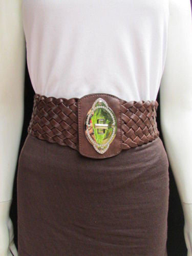 Black / Brown / Pink / Gray Wide Faux Leather Elastic Waist Hip Braided Wide Belt Silver Buckle New Women Fashion Accessories M  L - alwaystyle4you - 19