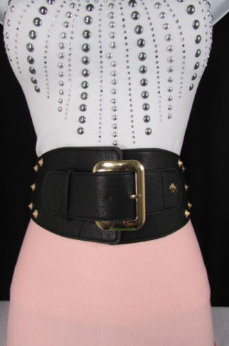 Dark Gray / Black Stretch Elastic Back Faux Leather Wide High Waist Hip Belt Gold Buckle Studs New Women Fashion Accessories S M - alwaystyle4you - 14