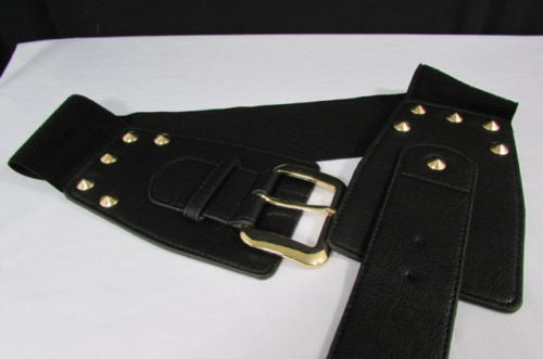 Dark Gray / Black Stretch Elastic Back Faux Leather Wide High Waist Hip Belt Gold Buckle Studs New Women Fashion Accessories S M - alwaystyle4you - 15