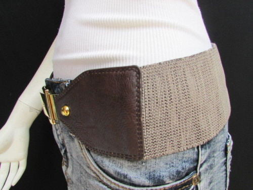 Dark Brown / Moca Brown Elastic Waist Hip Faux Leather Classic Gold Belt Buckle New Women Fashion Accessories S - M - alwaystyle4you - 14
