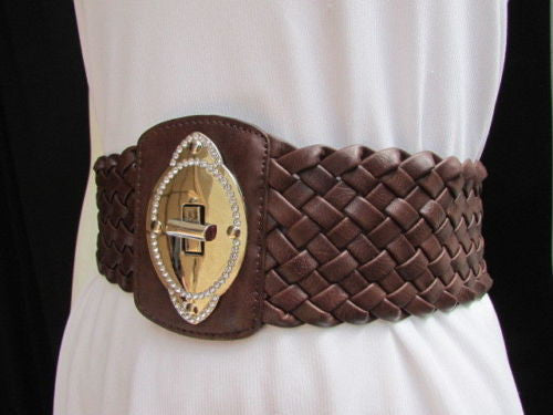 Black / Brown / Pink / Gray Wide Faux Leather Elastic Waist Hip Braided Wide Belt Silver Buckle New Women Fashion Accessories M  L - alwaystyle4you - 21
