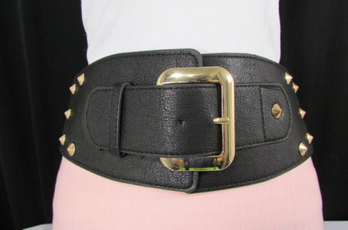 Dark Gray / Black Stretch Elastic Back Faux Leather Wide High Waist Hip Belt Gold Buckle Studs New Women Fashion Accessories S M - alwaystyle4you - 16