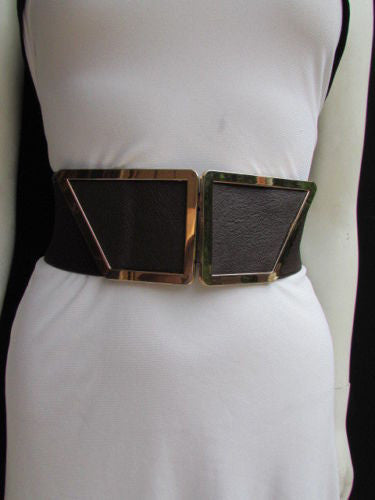 Blue / Dark Brown / Moca Brown Wide Elastic Waist Hip Stretch Back Belt Gold 80's Buckle New Women Fashion Accessories XS - M - alwaystyle4you - 21
