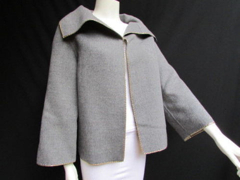 Gray Wool Caban Jacket Gold Metal Studs Valentino Boutique Women Fashion Size American 10 Italian 44