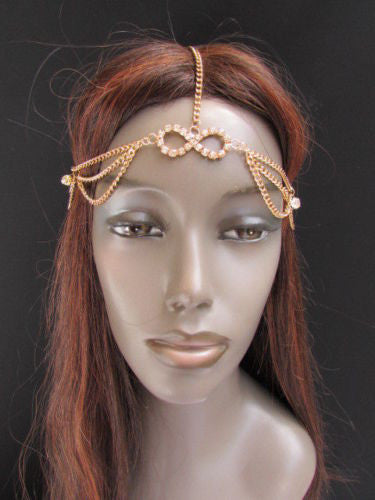 Gold Metal Head Band Forehead Hair Jewelry Infinity Sing Women Fashion  Wedding Accessories