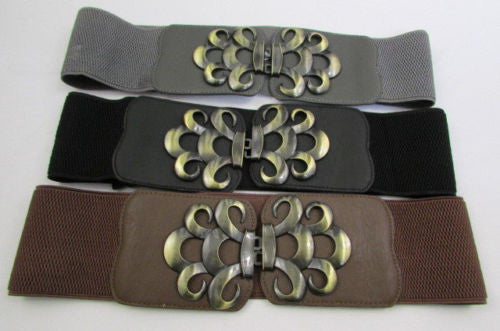 Brown / Black / Gray Faux Leather Elastic Stretch Back Belt Antique Gold Buckle New Women Fashion Accessories S M - alwaystyle4you - 3