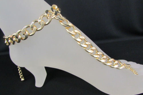 Gold Silver Metal Thick Foot Chains Bracelet Long Toe Ring Anklet New Women Fashion Accessories