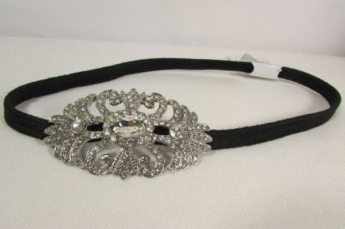 Silver Metal Side Head Band Forehead Large Rhinestone Flower Women Hair Wedding Accessories