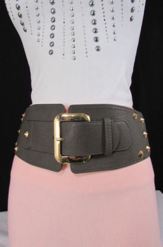 Dark Gray / Black Stretch Elastic Back Faux Leather Wide High Waist Hip Belt Gold Buckle Studs New Women Fashion Accessories S M - alwaystyle4you - 34