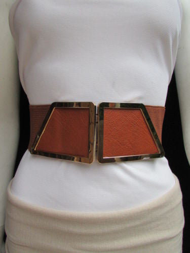 Blue / Dark Brown / Moca Brown Wide Elastic Waist Hip Stretch Back Belt Gold 80's Buckle New Women Fashion Accessories XS - M - alwaystyle4you - 26