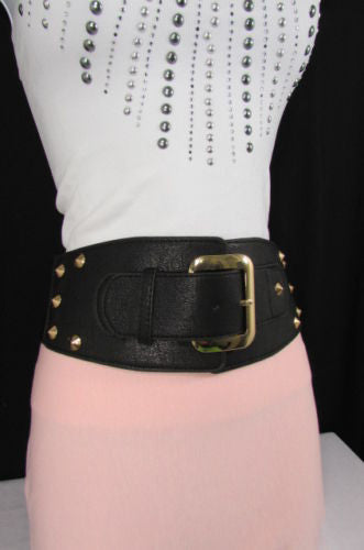 Dark Gray / Black Stretch Elastic Back Faux Leather Wide High Waist Hip Belt Gold Buckle Studs New Women Fashion Accessories S M - alwaystyle4you - 18