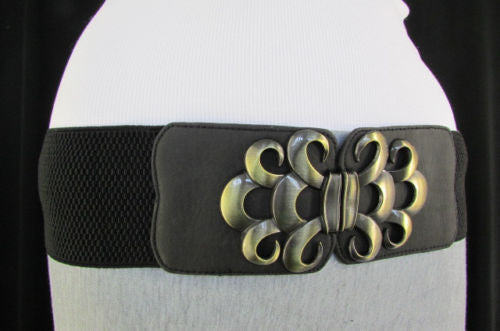 Brown / Black / Gray Faux Leather Elastic Stretch Back Belt Antique Gold Buckle New Women Fashion Accessories S M - alwaystyle4you - 20