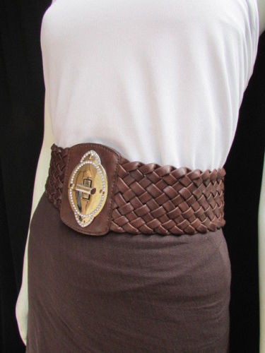 Black / Brown / Pink / Gray Wide Faux Leather Elastic Waist Hip Braided Wide Belt Silver Buckle New Women Fashion Accessories M  L - alwaystyle4you - 24